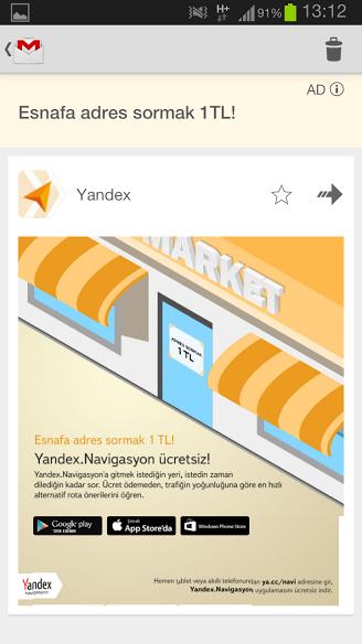 Yandex Gmail Sponsorlu Reklamı