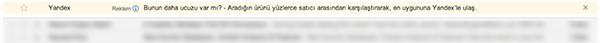 Yandex Gmail Sponsor Reklamı